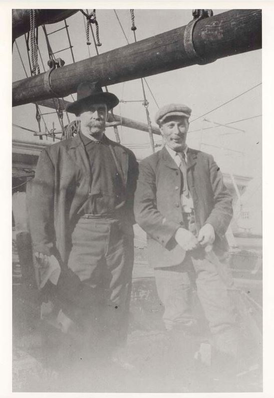 Robert E. Peary and Robert S. Bartlett. Ca. September 6, 1909, at Indian Harbour, Labrador. Courtesy of The Peary-MacMillan Arctic Museum, Bowdoin College. Photograph by Donald Baxter Macmillan.